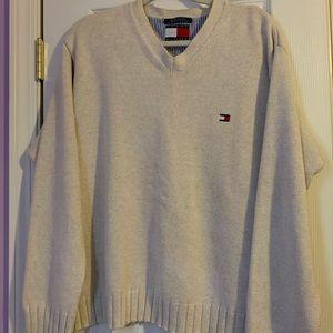 Tommy Hilfiger Men's V Neck Cream Sweater L Large